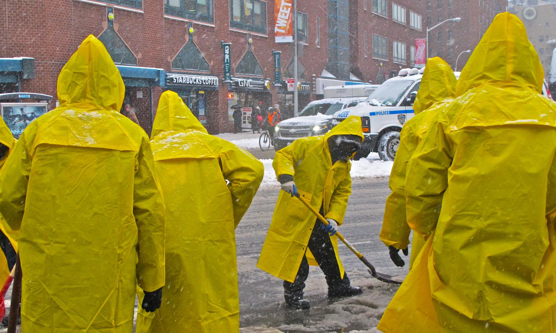 """Snow Shovelers"" with Yellow Slickers"" NYC 2015"